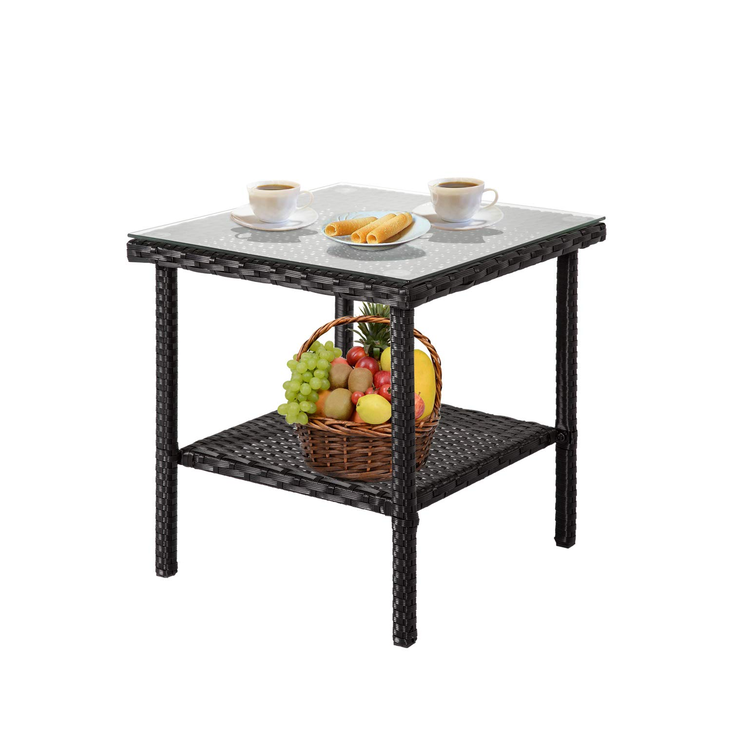 Kinbor Wicker End Table Rattan Outdoor Square Side Table Glass Top Patio Furniture Storage