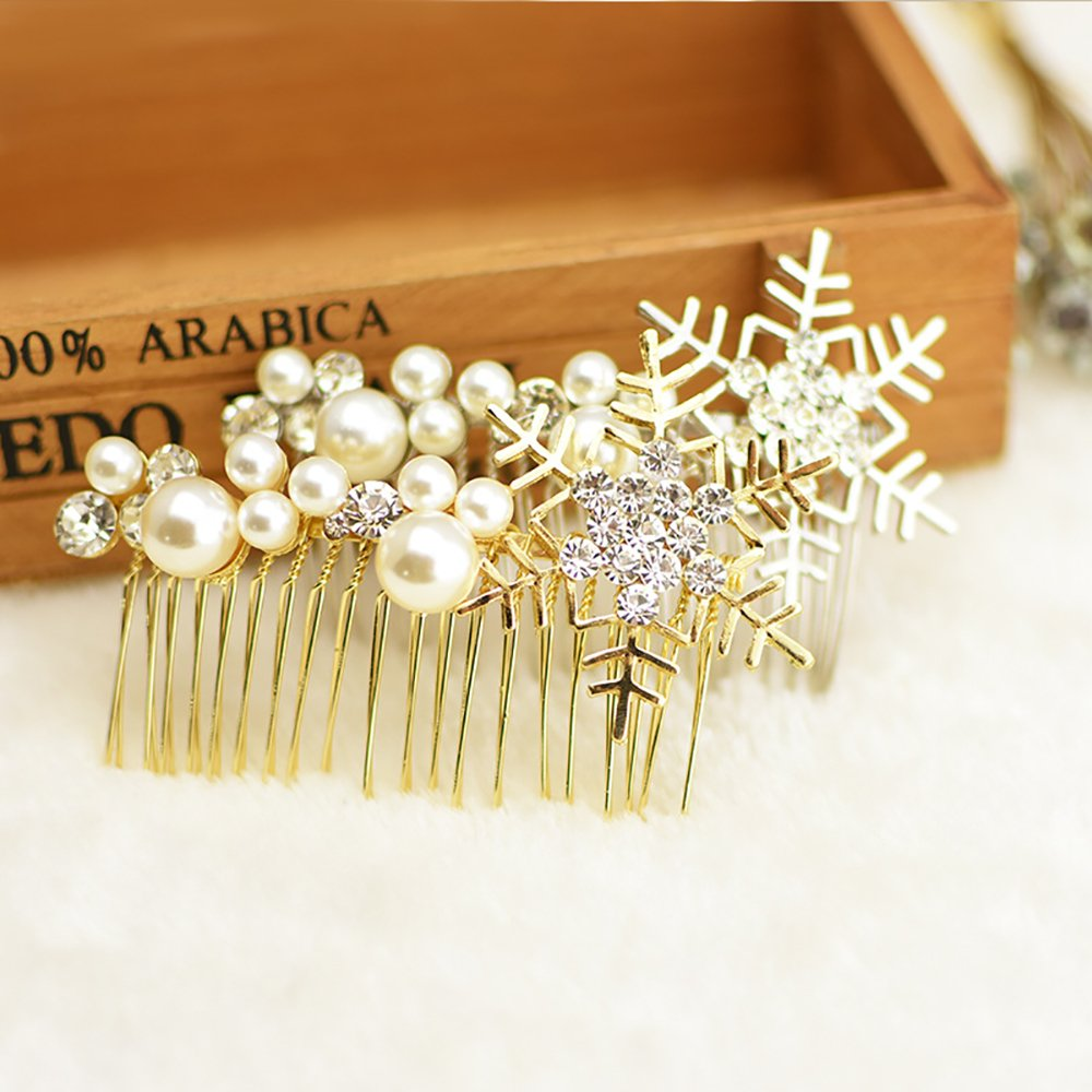 FXmimior Hair Comb Hair Accessories Wedding Headpiece Crystal Snow flake Rhinestone for Bridal Bridesmaid Christmas Gift Women (gold)