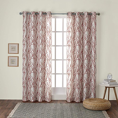 Exclusive Home Curtains Branches Linen Blend Grommet Top Window Curtain Panel Pair, Mecca Orange, 54x108 (Window Printed Panels)