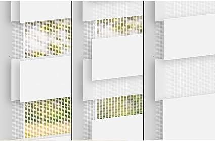 Klemmfix sans per/çage ECD Germany Store Enrouleur Double 45 x 150 cm avec Supports de Serrage Blanc Pare-Soleil- mat/ériel de Fixation Inclus Store occultant
