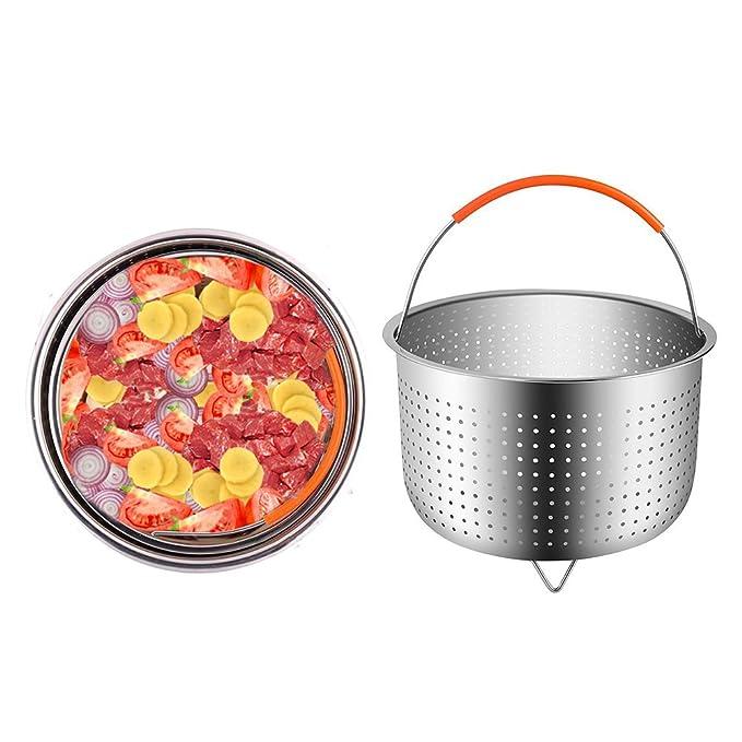 Starter Cestillo multiusos de acero inoxidable para una cocina al vapor - Cesta de vapor para 6 u 8 cuartos de galón de olla instantánea a presión de olla, ...