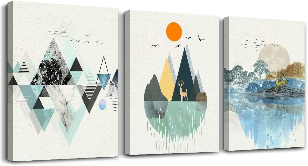 3 piece abstract wall art for bedroom canvas prints artwork bathroom wall decor Abstract Geometry scenery sunrise and sunset watercolor posters Mountain and elk painting office living room home decor