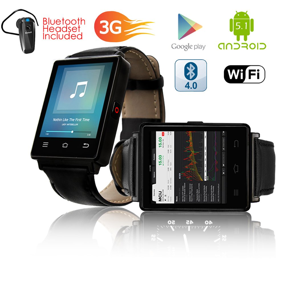 Indigi NEW 2017 3G GSM Unlocked SmartWatch & Phone + WiFi + GPS + Bluetooth 4.0 + Heart Rate Monitor + Bluetooth Included by inDigi (Image #4)