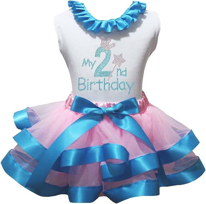 Petitebella My 2nd Birthday L//s Shirt Light Blue Ribbon Pink Petal Skirt Nb-8y