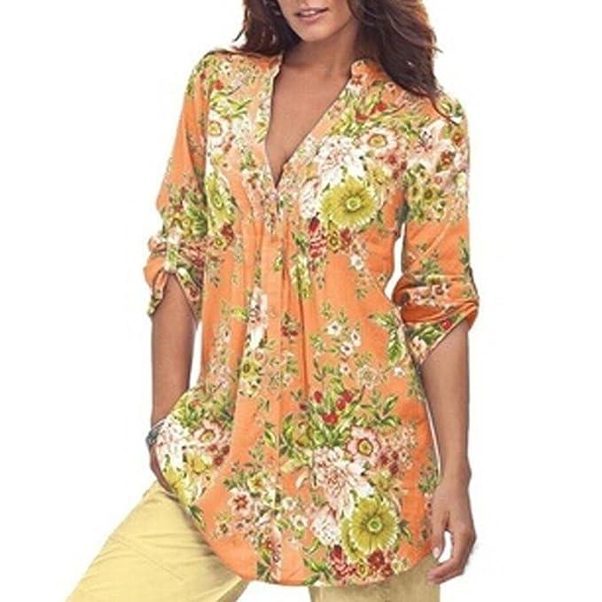 Camiseta Floral para Mujer, Retro Manga Larga Tunic Blusa Moda Cuello en V Camisetas Casual
