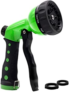 Lampelc Garden Hose Spray Nozzle, Garden Heavy-Duty Nozzle, Comfort-Grip 8 Different Spray Patterns for Watering Lawns, Washing Cars & Pets