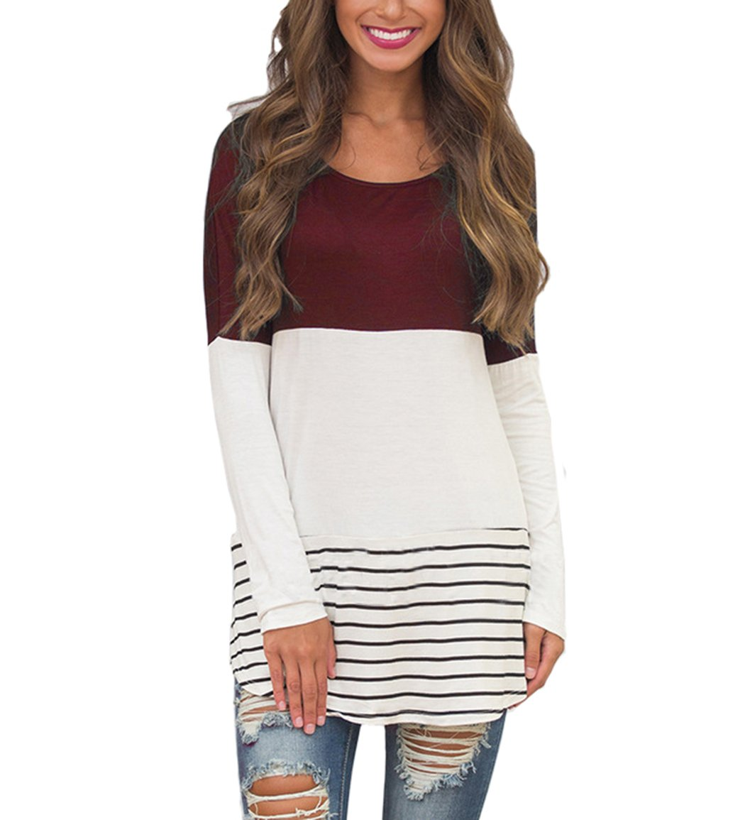 Hount Womens Back Lace Color Block Tunic Tops Long Sleeve T-Shirts Blouses with Striped Hem (Medium, Wine Red)