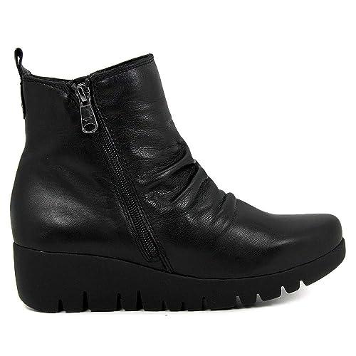 PAULA URBAN 19-550 Botin Piel CUÑA Mujer Negro 37: Amazon.es: Zapatos y complementos