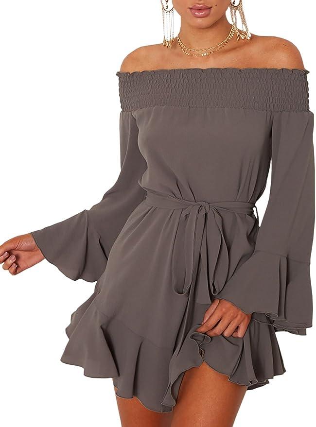 TALLA XL. Boutiquefeel Vestido Corto sin Hombro con Mangas de Corneta y Cordón Plisado Casual para Mujer Gris Oscuro XL