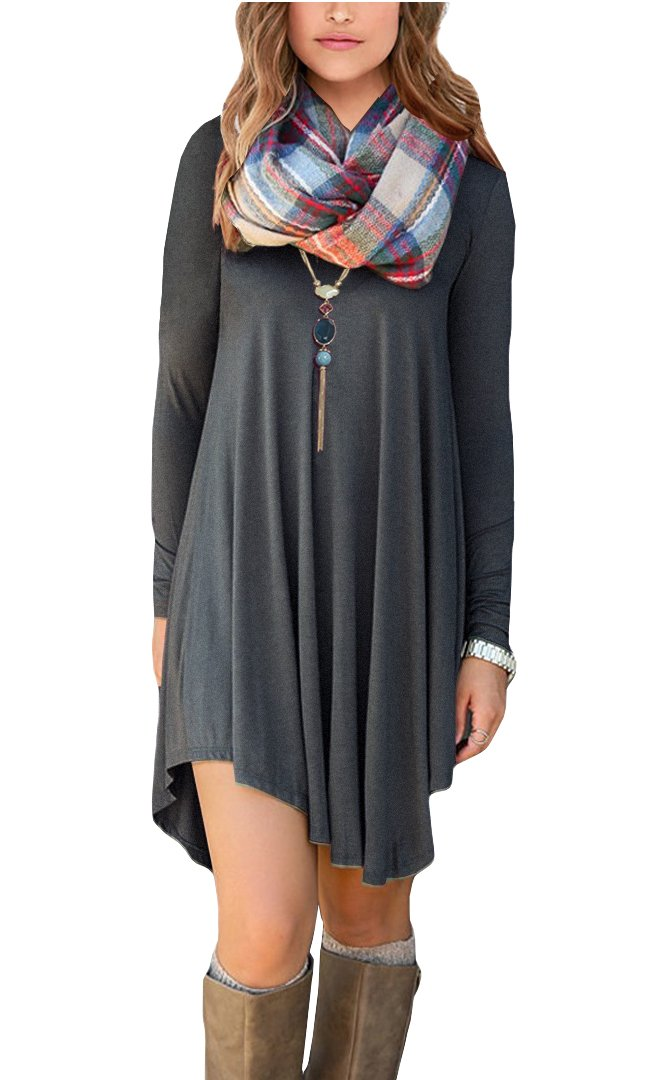 POSESHE Women's Long Sleeve Casual Loose T-Shirt Dress (M, Grey)