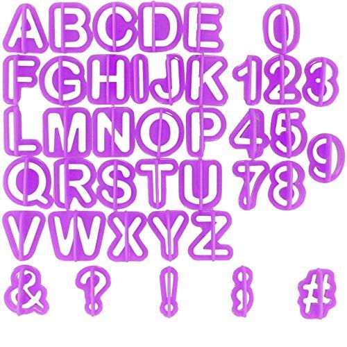 Ausstecher Buchstaben 40-teilig - Zahlen & Sonderzeichen Formen - Fondant Tortendeko Ausstecherform mit Haltegriff - Ausstechformen Set