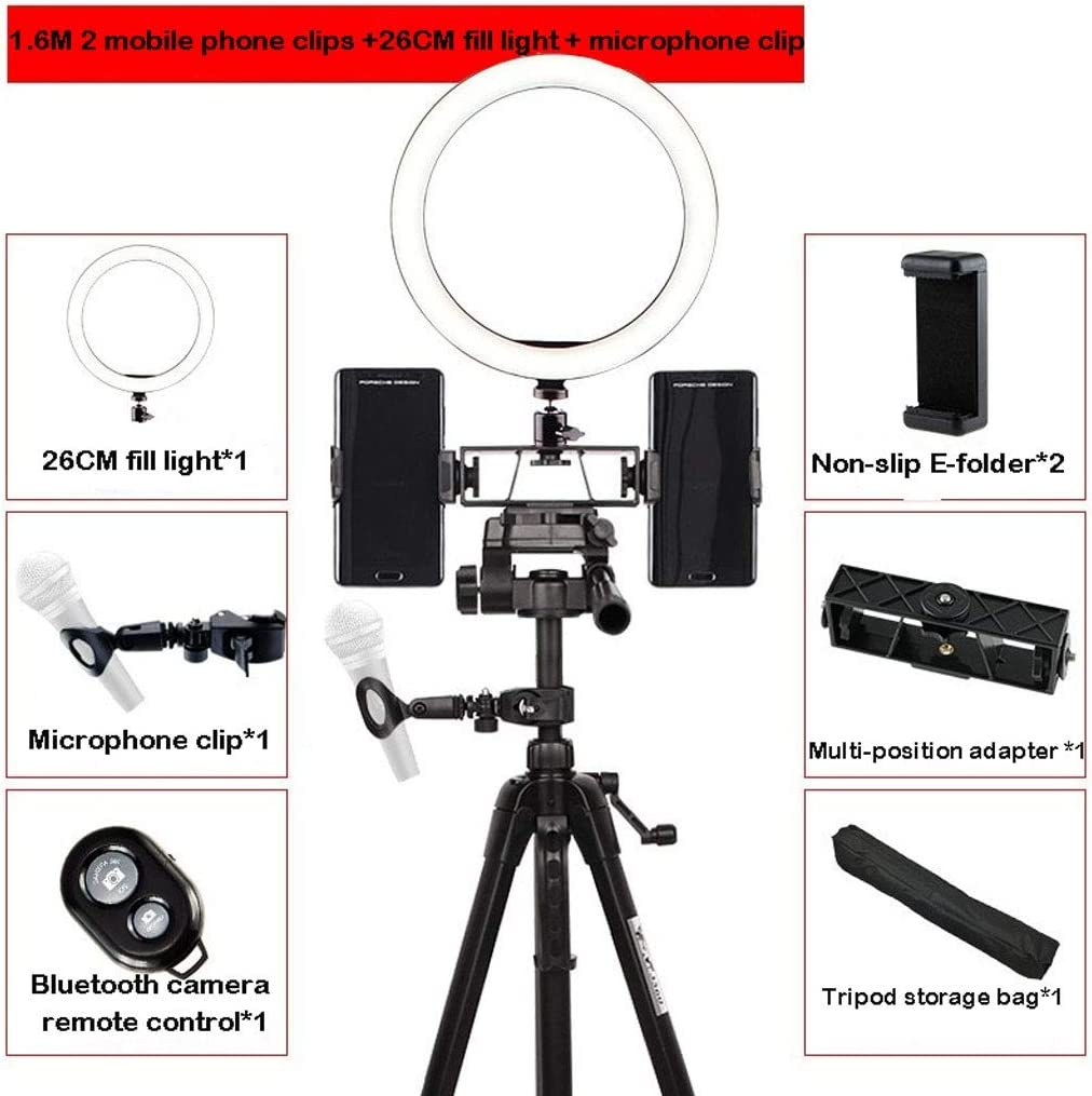 Color : G DFYYQ LED Ring Light with Tripod USB Power Supply Phone Holder Fill Light Microphone Clip Bluetooth Remote Control Optional Flashes