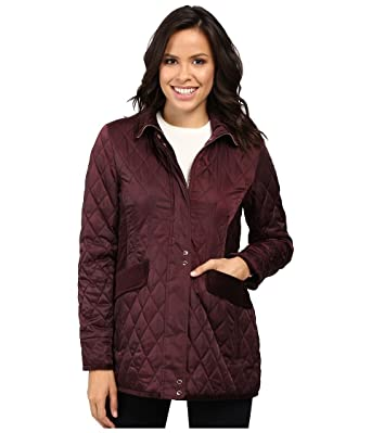 Vince Camuto Womens Quilted Jacket With Velvet Trim L8181 Wine