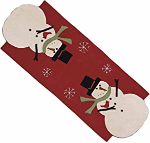Home collection by Raghu Snow Guy Nutmeg Table Runner, 14 by 36-Inch, Barn Red