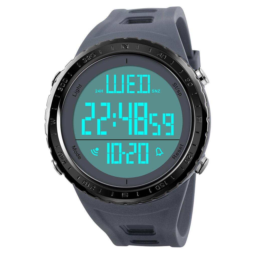 COOLANS - Reloj digital para hombre, diseño deportivo, militar y moderno, con retroiluminación LED, sumergible a 50 m, esfera grande y correa de resina