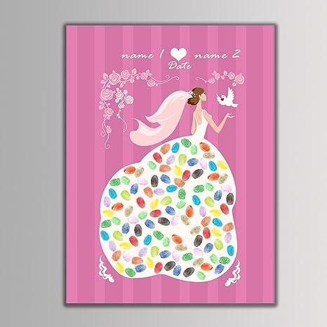 Qiulv Novia Huella Dactilar Firma Libro Visitas Lona DIY Creativo Pintura Registrarse Personalizado Personalizado Matrimonio Boda