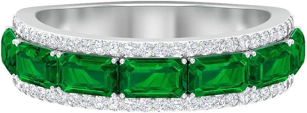 Anillo de eternidad vintage, 2,4 CT 5X3 MM Octágono forma de esmeralda, anillo de diamante HI-SI 1/4 CT, anillo de aniversario antiguo, regalo de dama de honor, 18K Oro