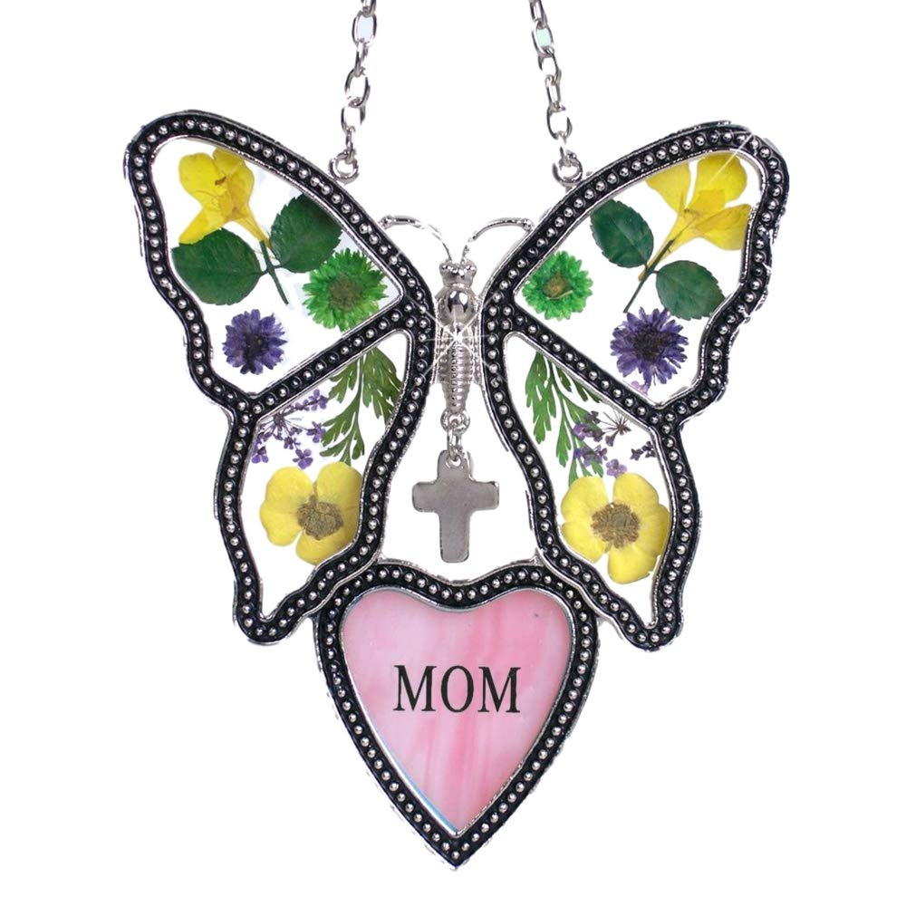 BANBERRY DESIGNS Mom Butterfly Suncatcher - Pressed Flower Glass Butterfly with Pink Mom Heart - Birthday Gifts for Mom - Gifts for Her