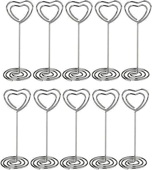 con base a spirale Pixnor per matrimoni e altre occasioni Confezione da 6 segnaposti da tavolo a forma di cuore