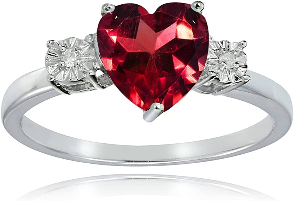 2.41 Ct Heart Shape Red Created Ruby 18K Yellow Gold Plated Silver Ring