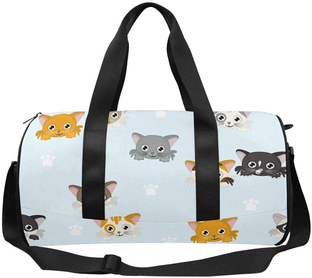 INTERESTPRINT Different Cats Heads Cute Lightweight Carry-on Travel Duffel Bag