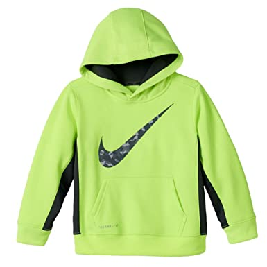 138733e6 Image Unavailable. Image not available for. Color: Nike Swoosh Little Boys  Neon Green Volt Therma-Fit Hoodie Pullover Sweatshirt 4