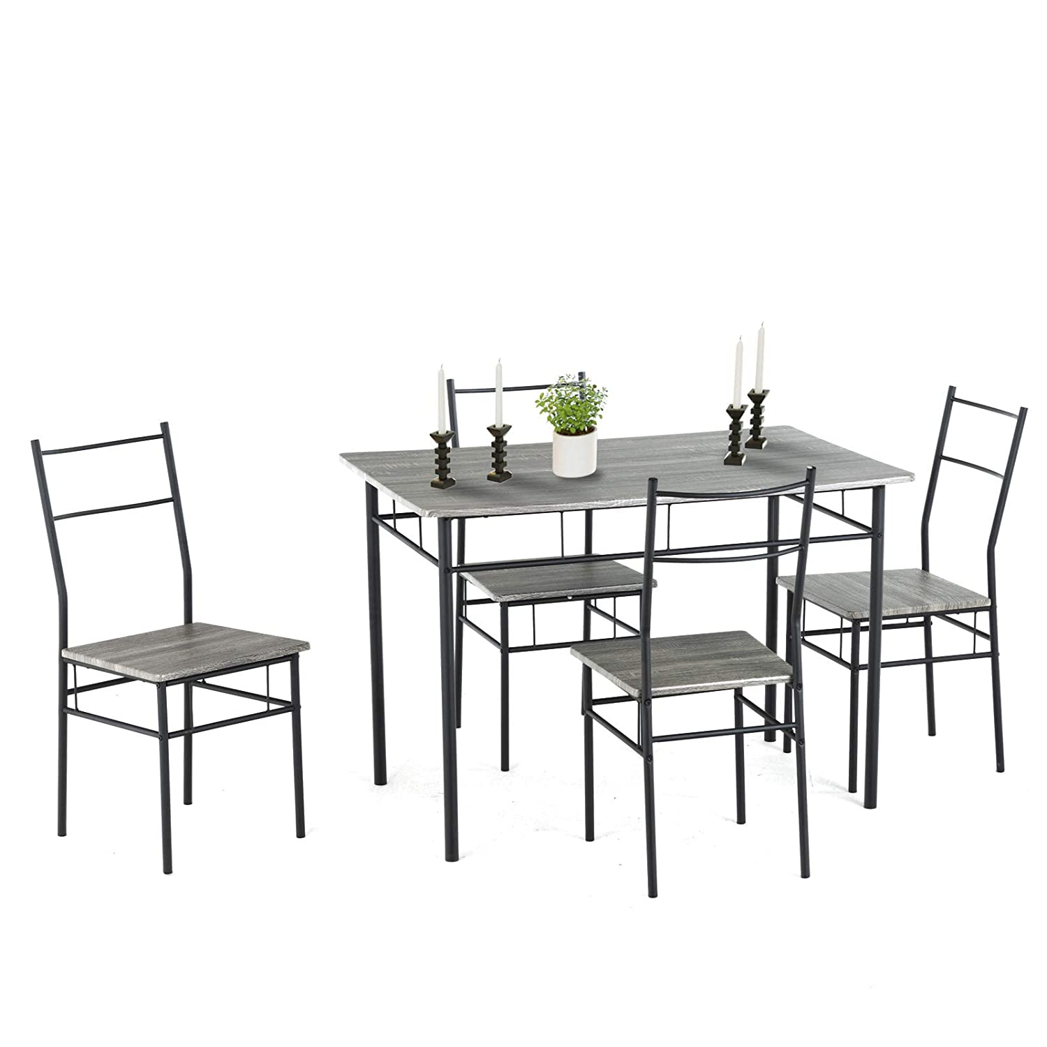 mecor 5 Piece Dining Table Set, Vintage Wood Tabletop Kitchen Table w/ 4 Chairs with Metal Frame (Grey)