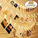 20Ft Battery Operated Indoor and Outdoor String Lights| with 40 LED Warm White Photo Clips| to Hang Cards, Photos, or Artwork. Includes Clear Adhesive Hooks for Convenient Easy Setup