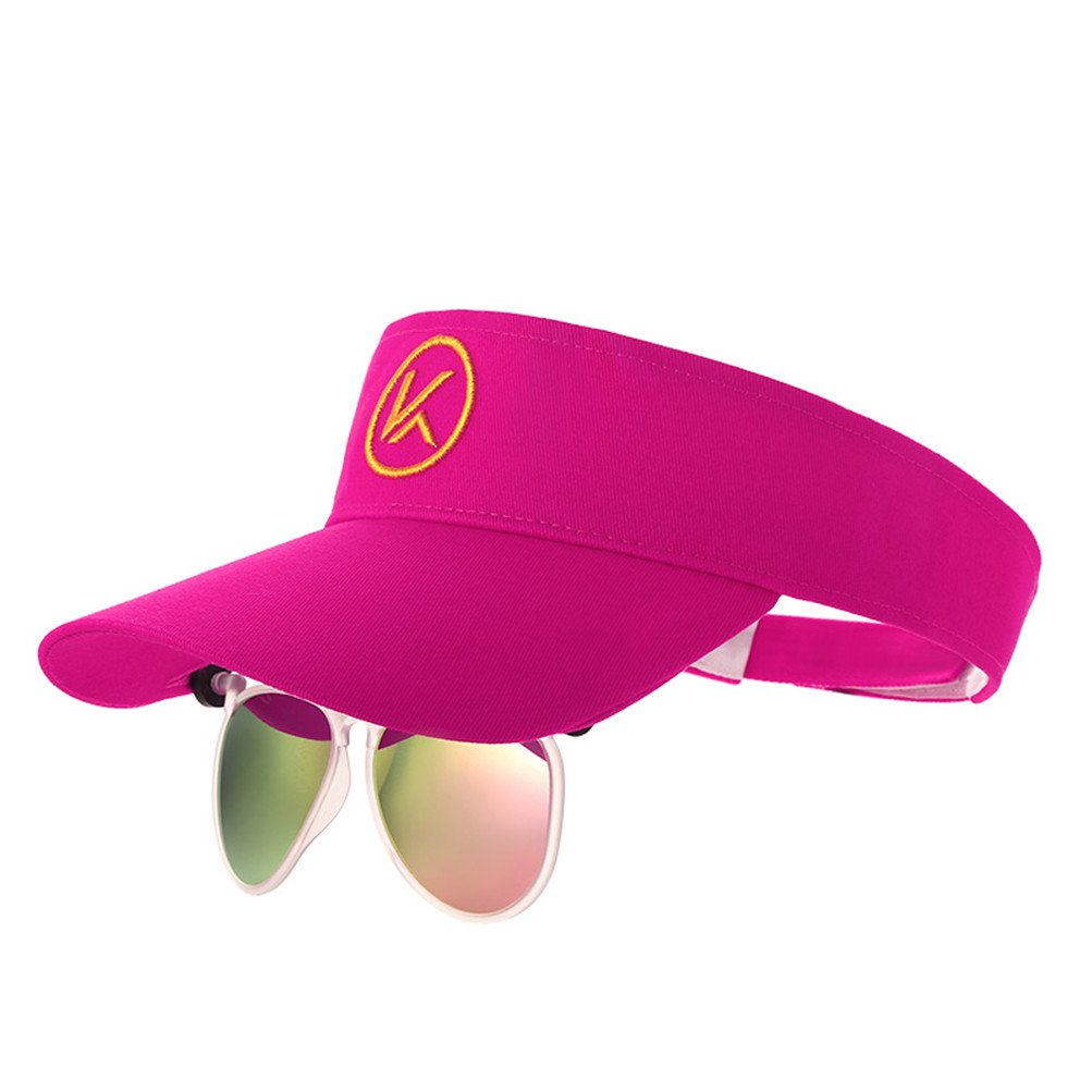 d5bf6998bcd Baseball Hat with Flip Polarized Sunglasses Attached Wrap Over Glasses for  Fishing Outdoor Sport Gifts (Sun Visor Fuchsia)