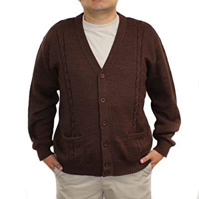 Alpaca Cardigan Jersey BRIAD Brown V Neck Buttons and Pockets Made in Peru at Men's Clothing store