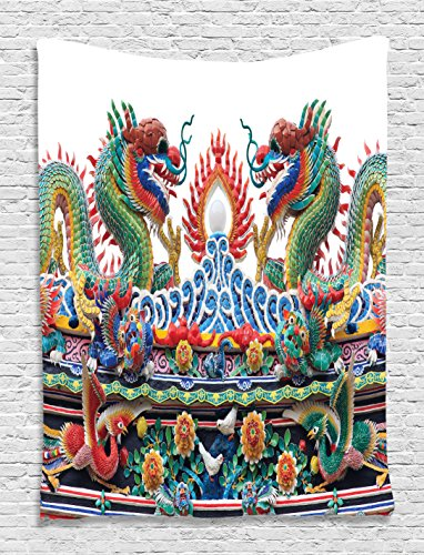 Asian Chinese Dragons Decor Colorful Eastern Decorations Asian Culture Flame Flowers Tapestry Wall Hanging Decorations Artprints Living Room Bedroom Dorm Outdoor Beach, Red Yellow Green Blue