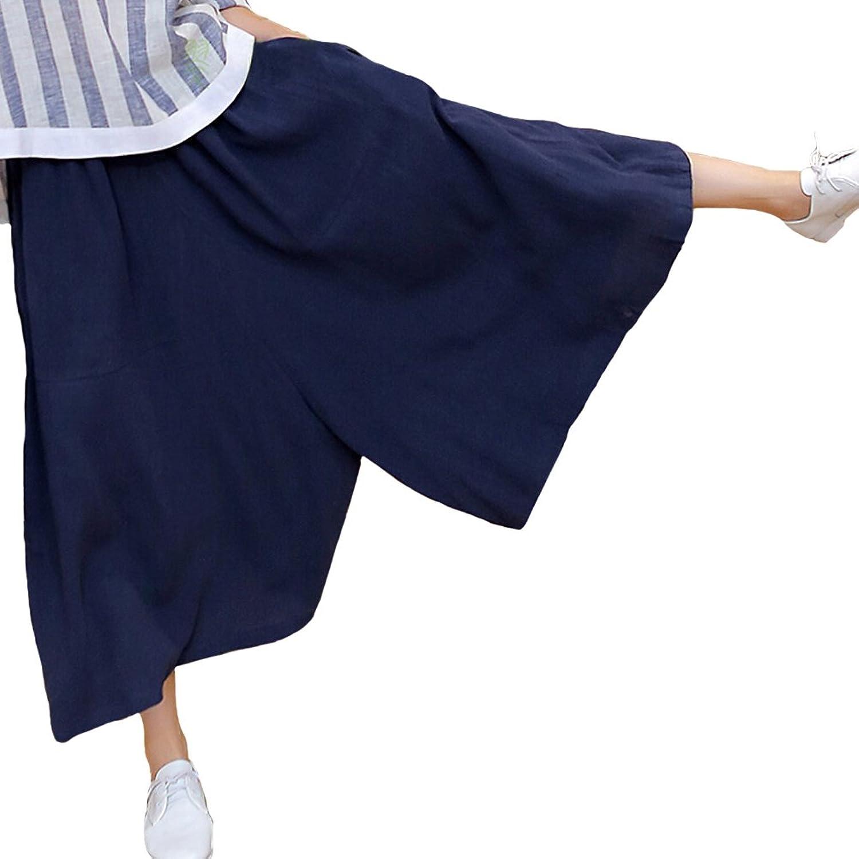 Aeneontrue Women's Capri Wide Leg Pants Culottes With Elastic Waist