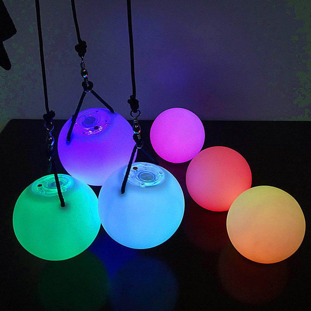 SUPVOX LED Then Juggling Balls Spinning LED Light Toy Colour Changing Belly Dance Level Hand Tips 2pcs