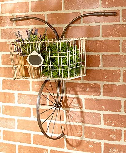 Bicycle Design Metal Wire Wall Basket Indoor Outdoor Unique Home Decor