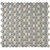SomerTile FKOMPR87 Penny Cookies and Cream Porcelain Floor/Wall Tile, 12'' x 12.625'', Grey/Brown