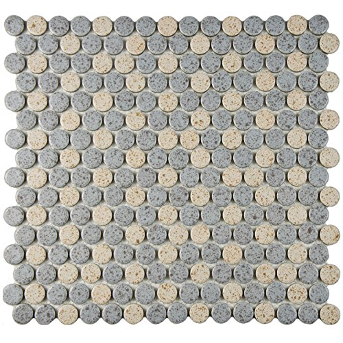SomerTile FKOMPR87 Penny Cookies and Cream Porcelain Floor/Wall Tile, 12'' x 12.625'', Grey/Brown by SOMERTILE