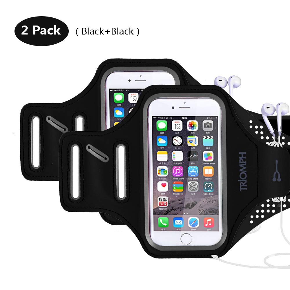 Triomph Armband for iPhone 8, 7, 6, 6S, SE, 5, 5C, 5S iPod Galaxy S6, S6 Edge S5 with Screen Protecter and Key Cards Money Holder, for Running, Workouts, Jogging, Hiking, Biking, Walking Walking (Black 5