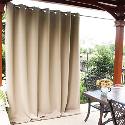 Surprising Nicetown Patio Door Outdoor Curtain Thermal Insulated Room Darkening Extra Wide Drape For Living Room Hall Room Guest Room And Villa Biscotti Home Interior And Landscaping Oversignezvosmurscom