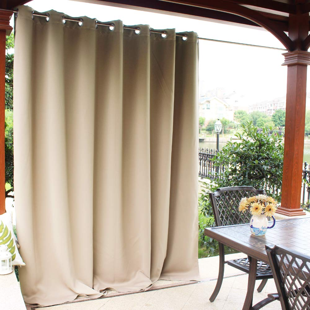 NICETOWN Patio Door Outdoor Curtain - Thermal Insulated Room Darkening Extra Wide Drape for Living Room, Hall Room, Guest Room and Villa (Cream Beige, 1 Pack, 100 Inch Wide by 84 Inch Long)