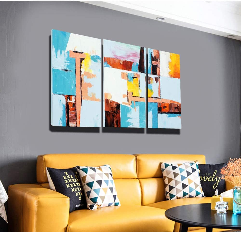 SHOULI Wall Art Abstract Paintings Hand-Painted on Canvas Wrapped 3 Piece for Office Home Decoration