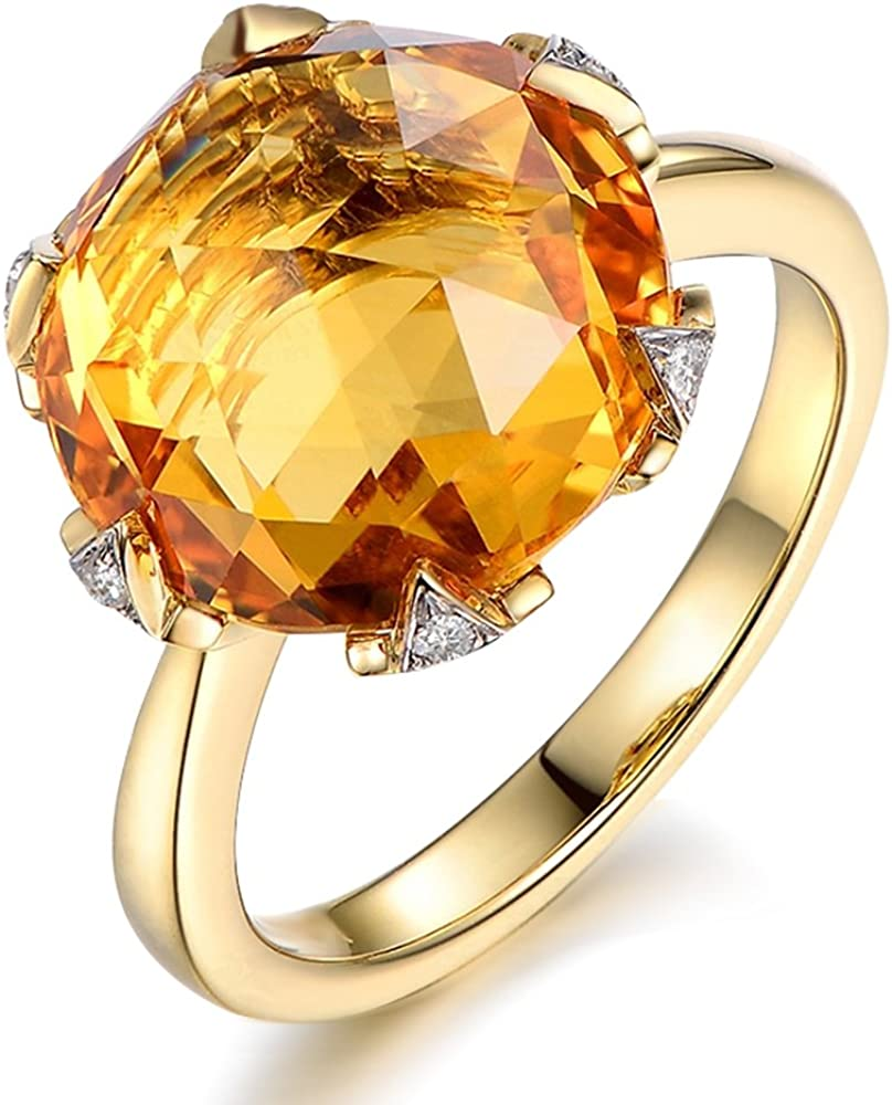 Rare 7 8ct Natural Citrine Ring With South Africa Diamonds Of 5 Points Gemstone 14k Solid Yellow Gold Engagement Anniversary Rings For Women Amazon Com