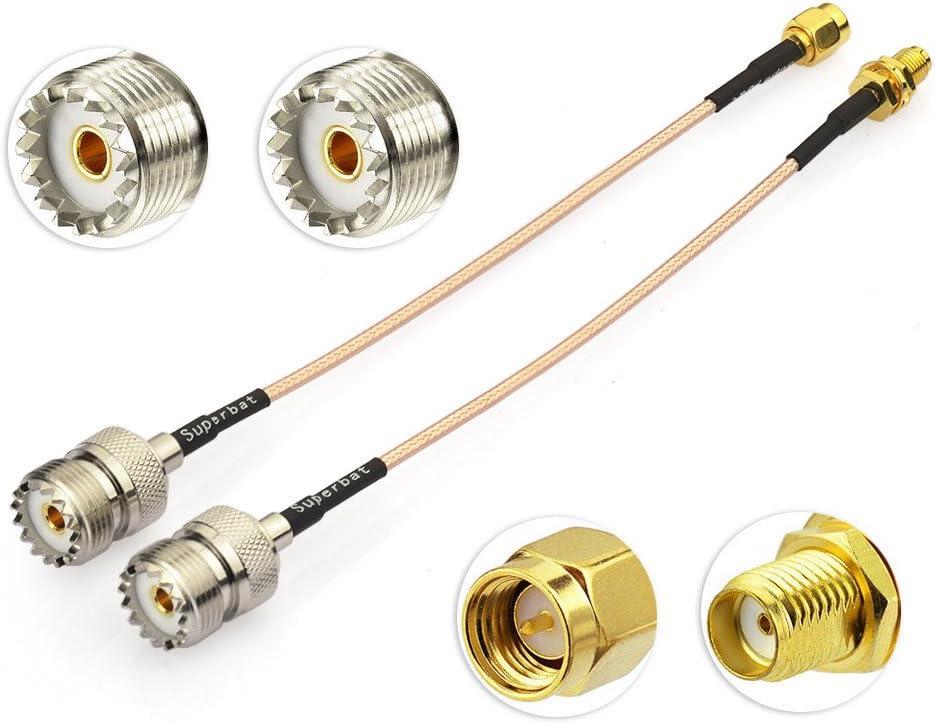 Superbat Coax UHF Female SO-239 to SMA Male//SMA Female Adapter Extension Cable RG316 6 for Baofeng Wouxun Kenwood Icom Yaesu CB Radio Handheld Walkie Talkie 2pcs