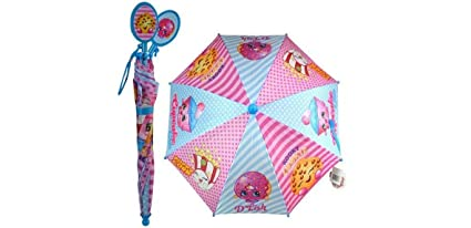 Shopkins Girl Umbrella with Molded Plastic Handle Pink/Baby Blue