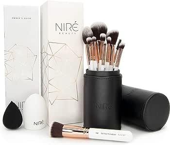 Artistry Set de Niré: brochas de maquillaje veganas con estuche de brochas, esponja Niré Beauty y cepillo limpiador de brochas: Amazon.es: Belleza