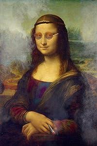 Mona Lisa Hippie Smoking Marijuana Pot Weed Parody Funny Art Cool Wall Decor Art Print Poster 24x36