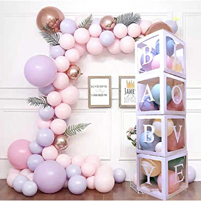"MISBEST 4PCS Balloon Boxes for Baby Shower With""LOVE\""&\"" BABY\""Letter White Box for Boys Girls Showers Gender Reveal Birthday Party Backdrop DIY Party Decorations: Toys & Games [5Bkhe1801771]"