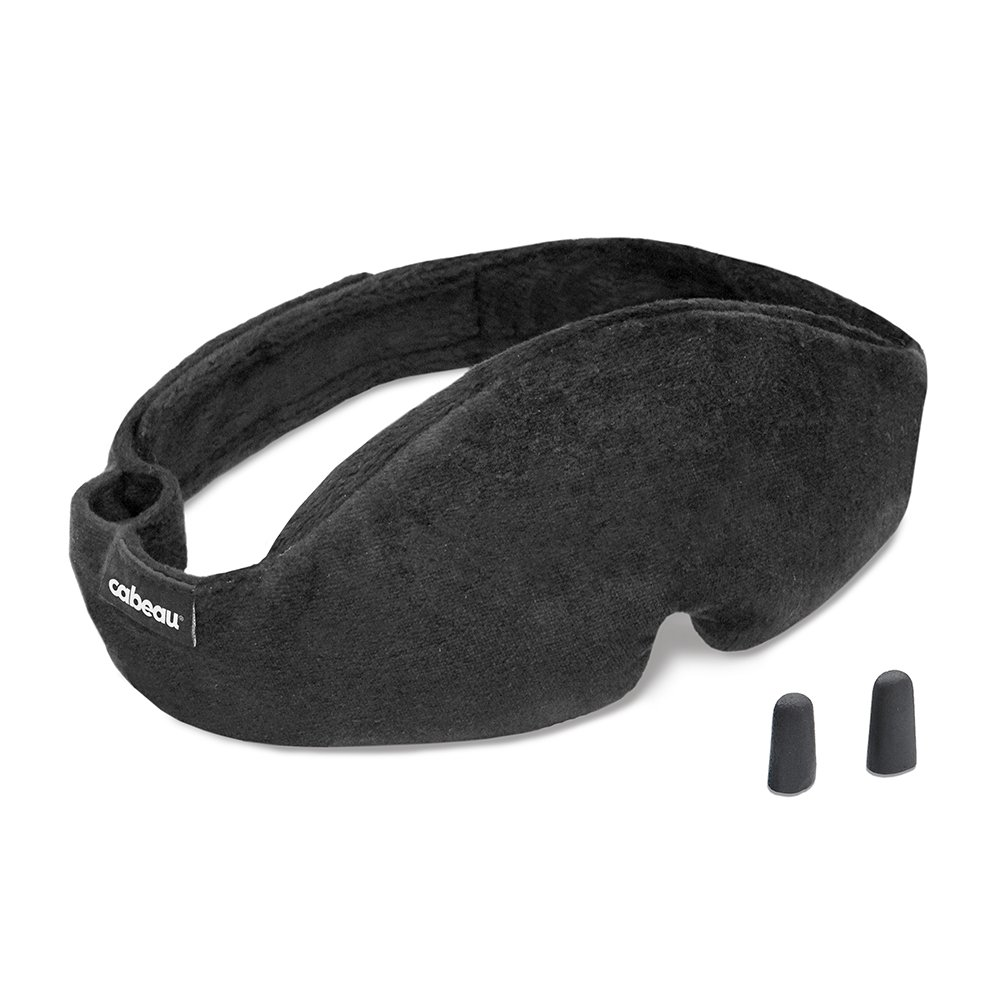 Cabeau Midnight Magic Sleep Mask - Adjust Padded Nose Strip to Block or Blackout Light - for Home and Travel - Soft Plush Fabric - Eye Liners Keep Fabric Away from Eyelids - Memory Foam Earplugs by Cabeau