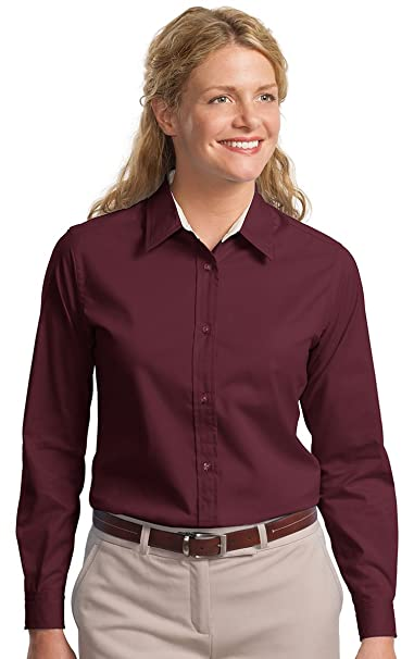 2a0c93af Image Unavailable. Image not available for. Color: Port Authority Women's  Long-Sleeve Easy Care Shirt ...