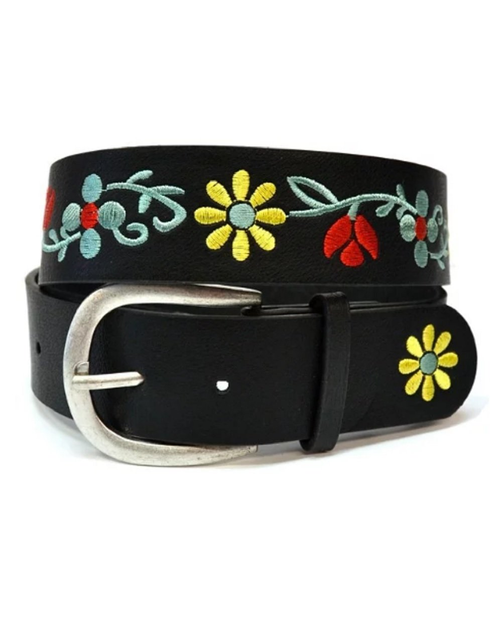 Love My Seamless Womens Ladies Girls Accessories Multicolor Floral Embroidery Jean Belt (Black)