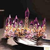 Quantity 1x Amethyst_Post_Fashion_retro_ Bridal Crown Tiara Party Wedding Headband Women Bridal Princess Birthday Girl Gift Princess Headdress jewelry Wedding Hair Wedding dress Headband